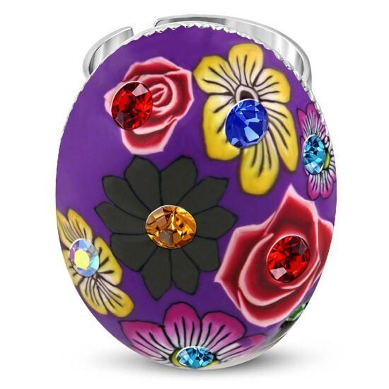 Ovális, virág mintás állítható nemesacél gyűrű ékszer cirkónia kristállyal