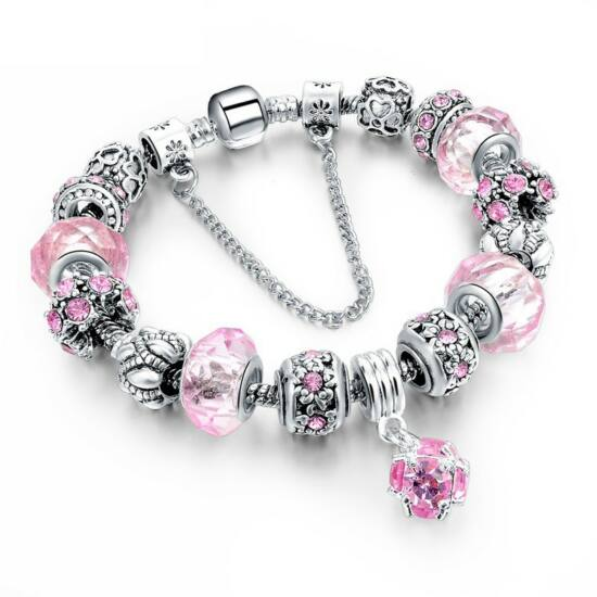 Pandora stílusú kristályos karkötő - rózsaszín