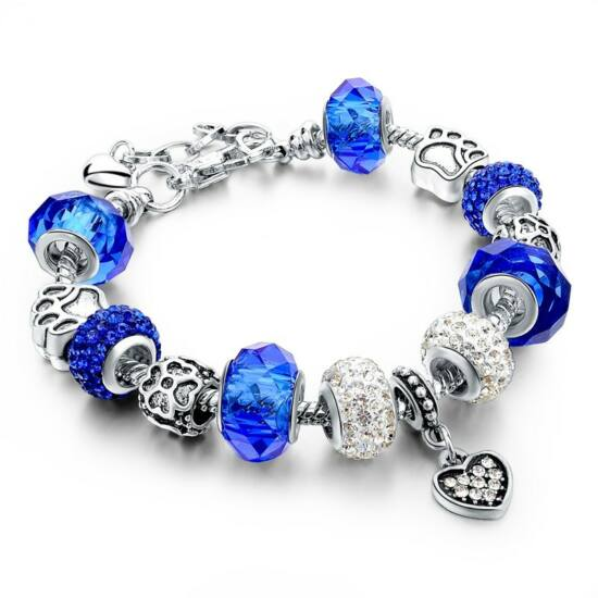 Pandora stílusú kristályos karkötő - sötét kék