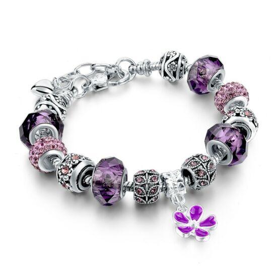 Pandora stílusú virág kristályos karkötő - Lila