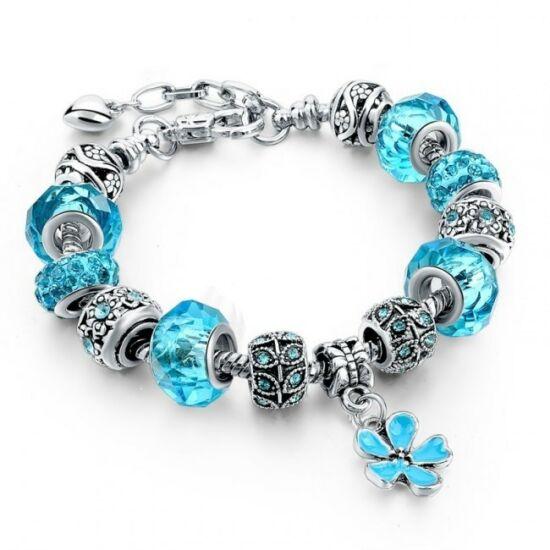 Pandora stílusú virág kristályos karkötő - Türkiz