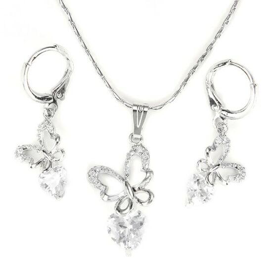 Pillangós Swarovski kristályos nyaklánc és fülbevaló szett