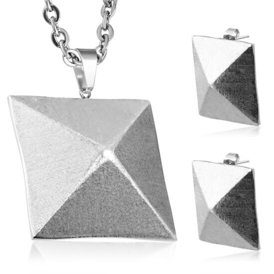 Piramis alakú nemesacél szett - fülbevaló és medál