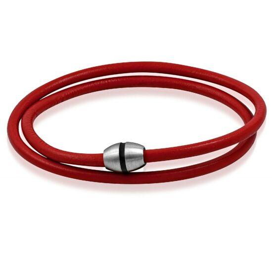 Piros bőr nyaklánc ékszer, mágneses zárral