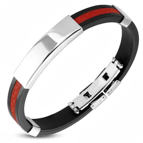 Piros és fekete színű, gravírozható kaucsuk karkötő ékszer