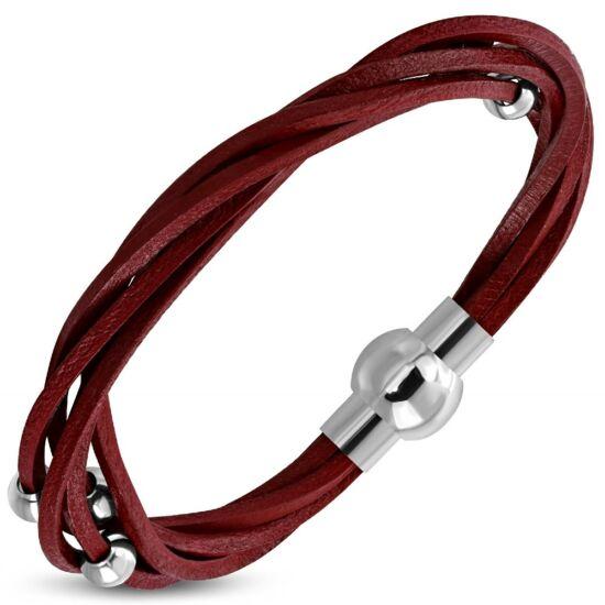 Piros színű fonott bőr karkötő ékszer, nemesacél gyöngyökkel