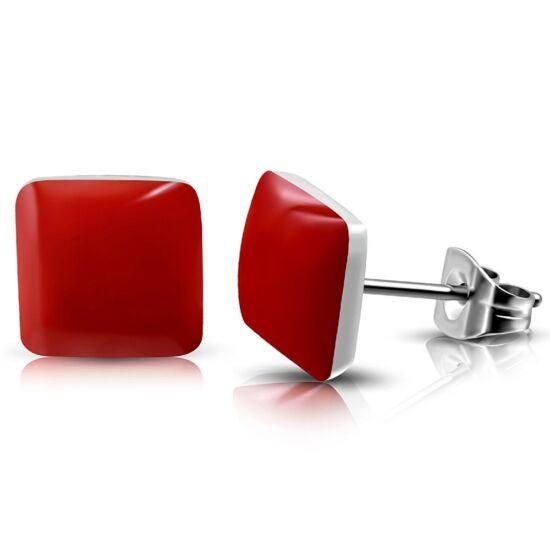 Piros színű négyzet alakú nemesacél fülbevaló ékszer