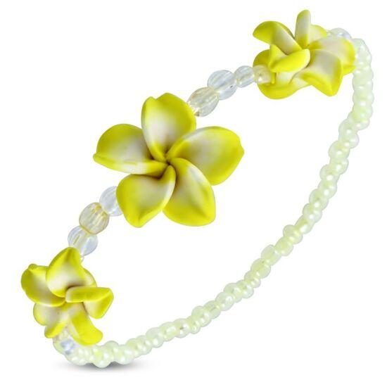 Pluméria virágos bizsu karkötő - Citromsárga
