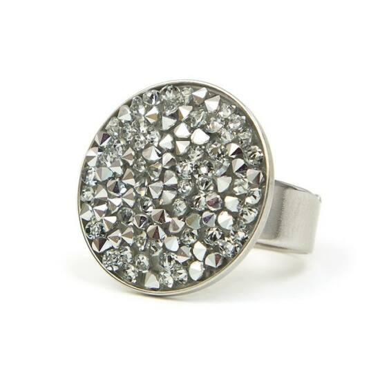 Rock Swarovski® kristályos nemesacél gyűrű - Silver