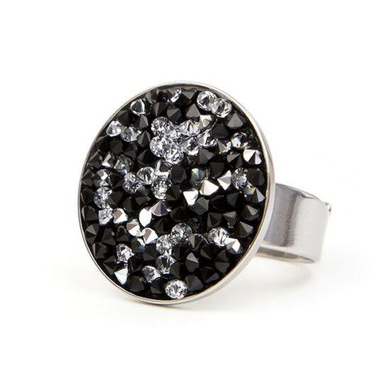 Rock Swarovski® kristályos nemesacél gyűrű - Silver&Jet