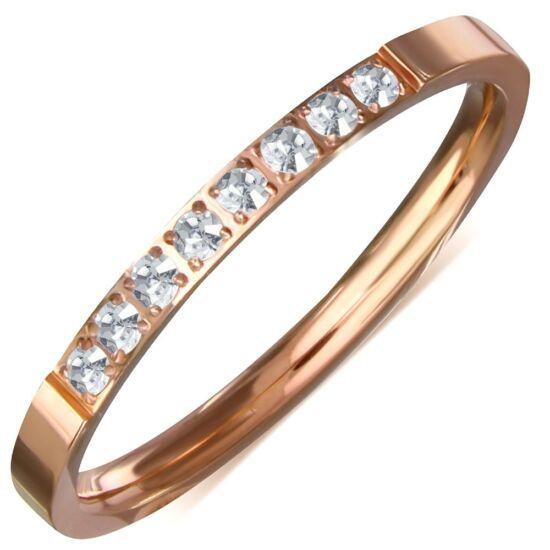 Rózsa arany színű nemesacél gyűrű, karikagyűrű ékszer