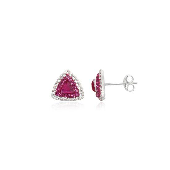 Rózsanszín színű ezüst fülbevaló
