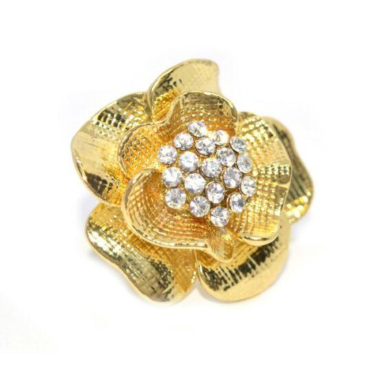 Rózsás swarovski kristályos gyűrű 060