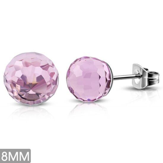 Rózsaszín gömb nemesacél fülbevaló ékszer