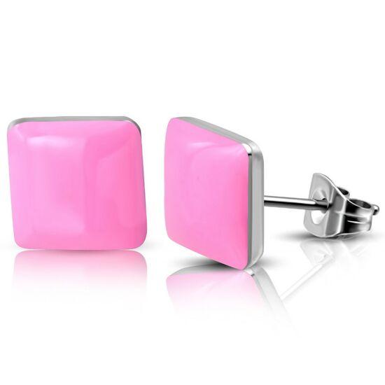Rózsaszín négyzet alakú nemesacél fülbevaló ékszer