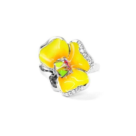 Sárga árvácska Swarovski kristályos gyűrű, arany színű-6