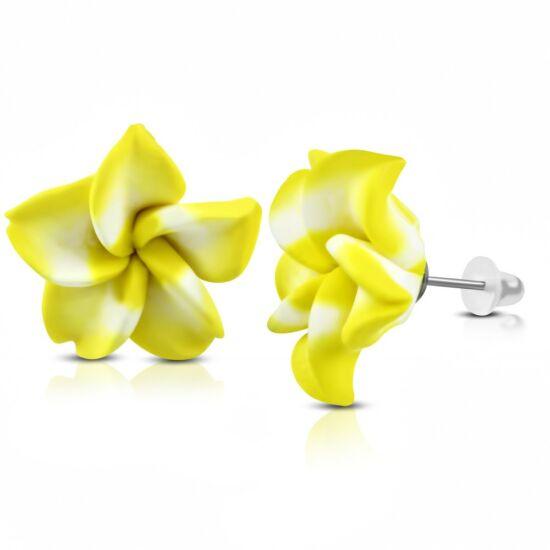 Sárga-fehér pluméria virág fülbevaló