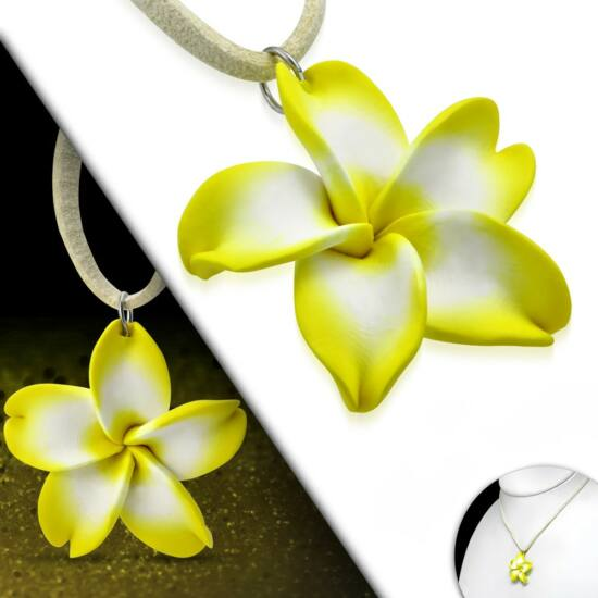 Sárga-fehér pluméria virág nyaklánc