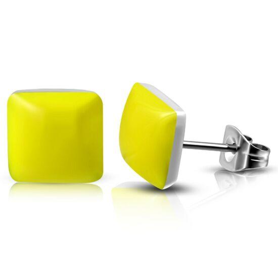 Sárga színű négyzet alakú nemesacél fülbevaló ékszer