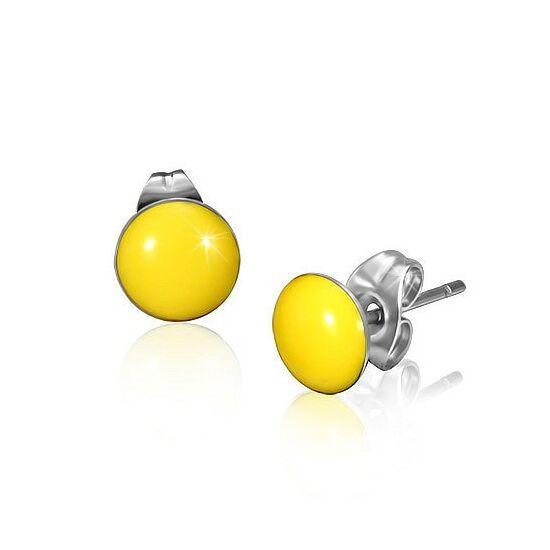 Sárga színű pont nemesacél fülbevaló ékszer