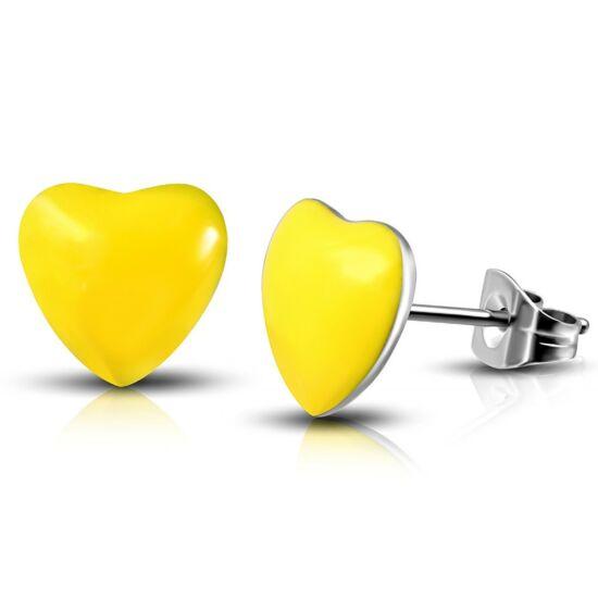 Sárga színű, szív alakú nemesacél fülbevaló ékszer