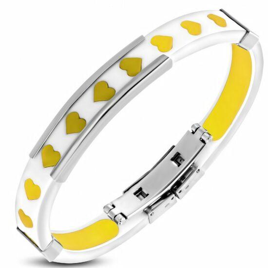 Sárga szívecskés, gravírozható kaucsuk karkötő ékszer