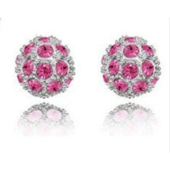Shamballa fülbevaló - ezüst és rózsaszín