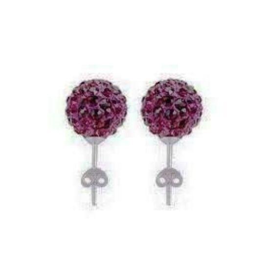 Shamballa fülbevaló - sötét lila