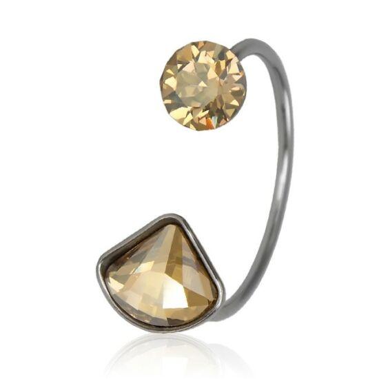 Shell Swarovski® kristályos nemesacél gyűrű - Golden Shadow