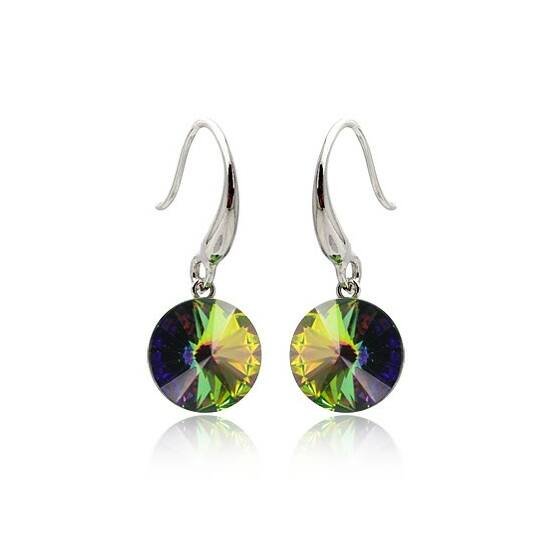 Smaragd Swarovski kristályos fülbevaló-003