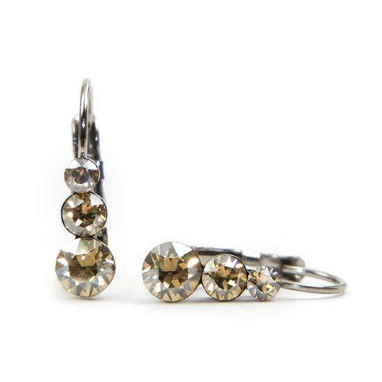 Snowman Swarovski® kristályos nemesacél fülbevaló - Golden Shadow