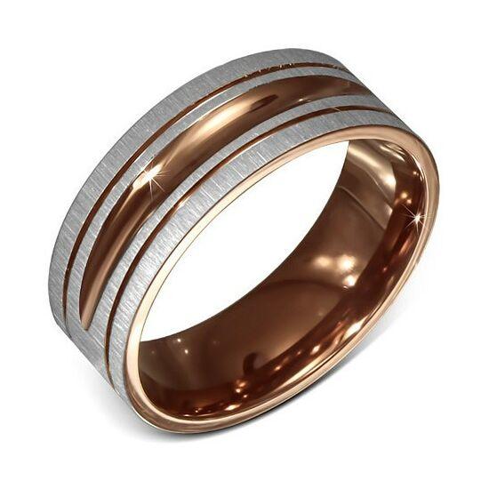 Split két színű nemesacél gyűrű ékszer