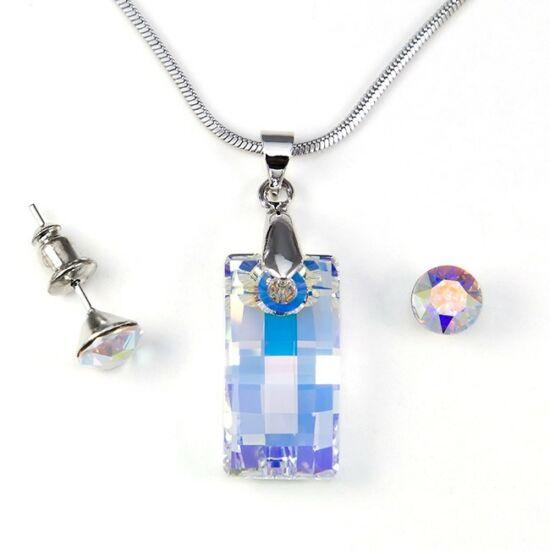Swarovski kristályos ékszerszett - Square 20 mm, Crystal AB + díszdoboz