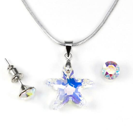 Swarovski kristályos ékszerszett - Tengeri Csillag 16 mm, Crystal AB + díszdoboz
