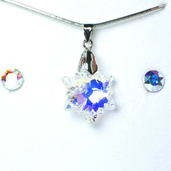 Swarovski kristályos szett - Havasi Gyopár, 18 mm, Crystal AB + díszdoboz