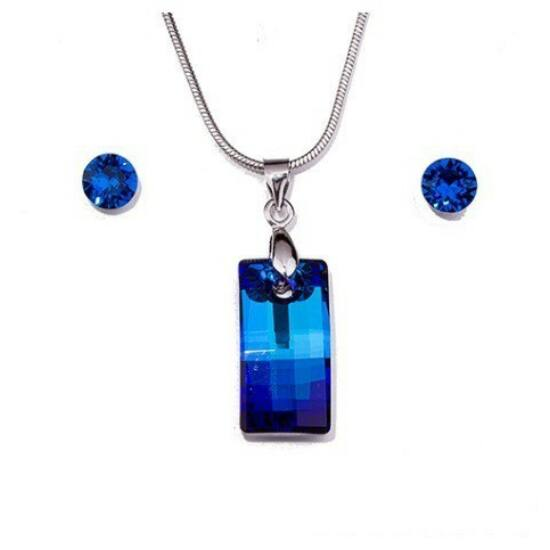 Swarovski kristályos szett - Square 20 mm, Bermuda Blue + díszdoboz