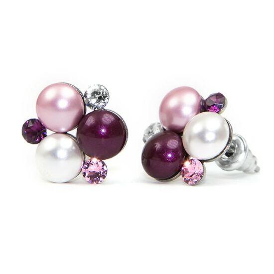 Swarovski® gyönyökkel és kristállyal díszített nemesacél fülbevaló 011
