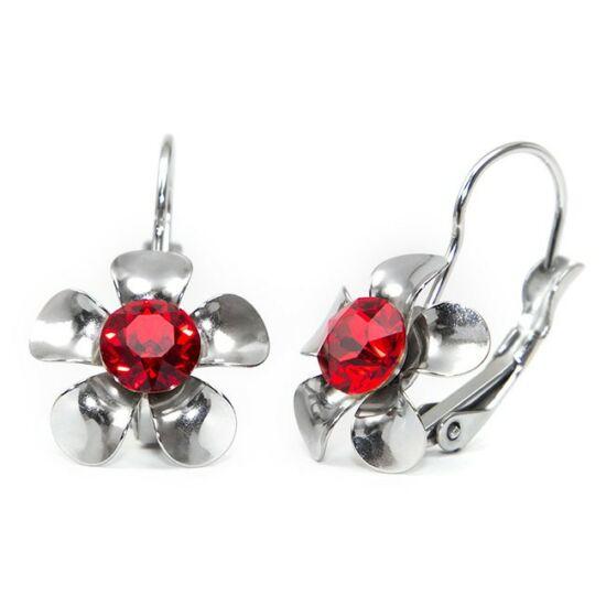 Swarovski® kristályos, fém virágos nemesacél fülbevaló - Light Siam