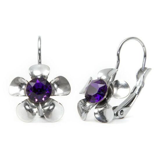 Swarovski® kristályos, fém virágos nemesacél fülbevaló - Purple Velvet