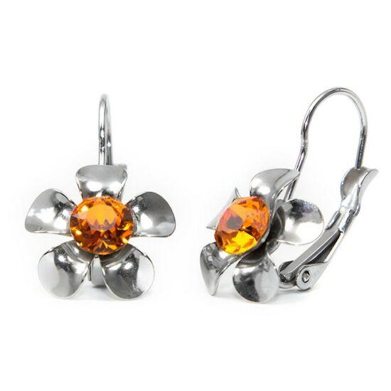 Swarovski® kristályos, fém virágos nemesacél fülbevaló - Tangerine
