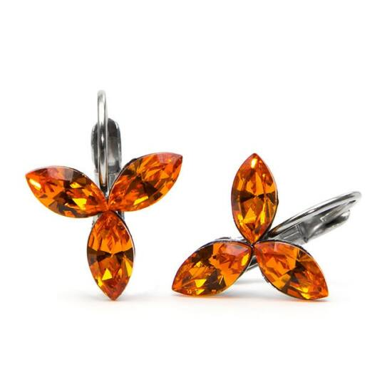 Swarovski® kristályos nemesacél fülbevaló - Fire Opal