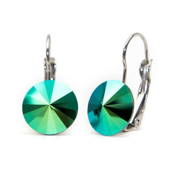 Swarovski® kristályos nemesacél fülbevaló - Scarabeus Green