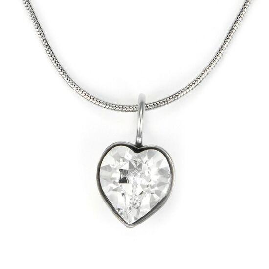 Swarovski® kristályos nemesacél nyaklánc - apró szíves, Crystal