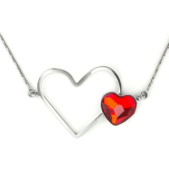 Swarovski® kristályos nemesacél nyaklánc - dupla szíves, Light Siam