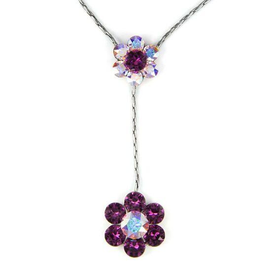 Swarovski® kristályos nemesacél nyaklánc - lila virágos