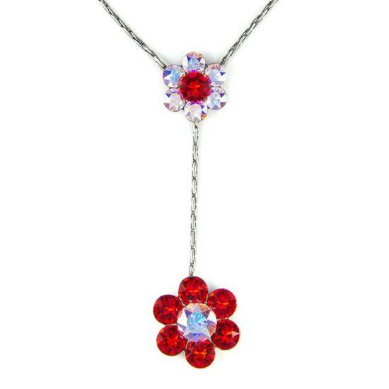 Swarovski® kristályos nemesacél nyaklánc - piros virágos
