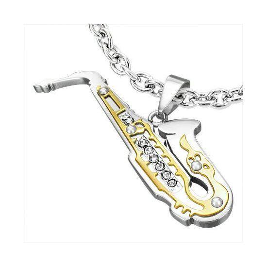 Szaxofon nemesacél medál ékszer