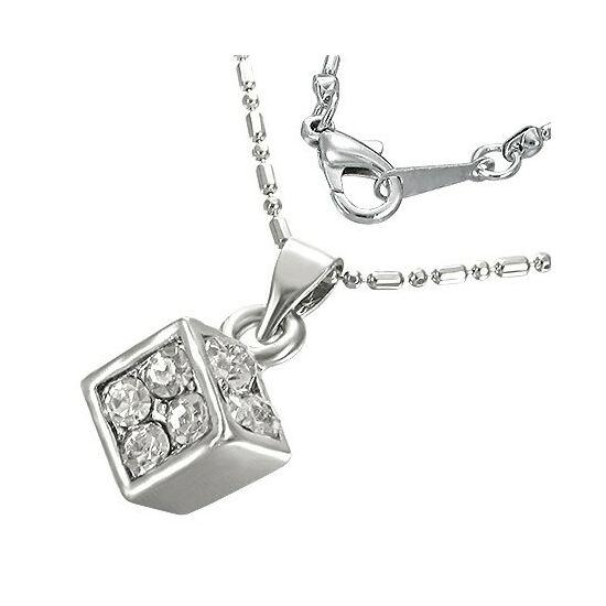 Szerencse hozó kocka, fehér kristállyal ékesített női nyaklánc
