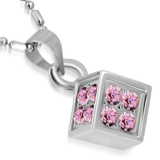 Szerencse hozó kocka, rózsaszín kristállyal ékesített női nyaklánc