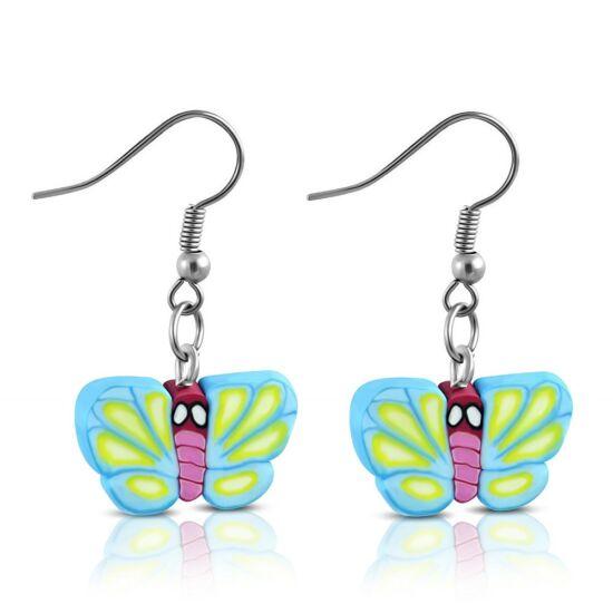 Színes pillangós bizsu fülbevaló